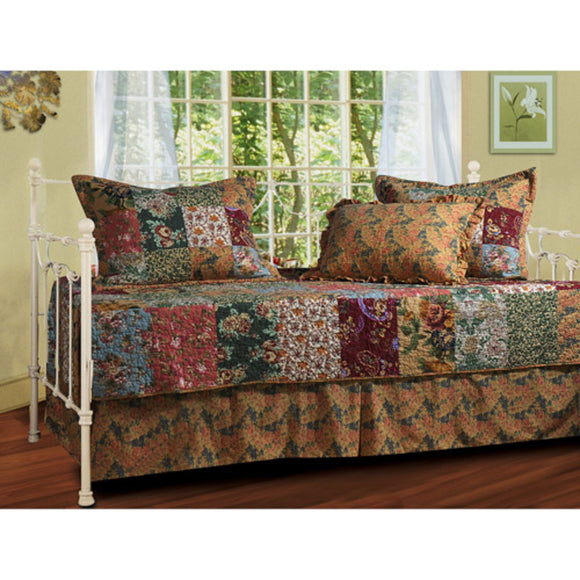Red Brown Plaid Daybed Cover Set Floral Motif Geometric Square Rugby Stripe Checkered Cabin Lodge Theme Checked Pattern Bedding Day Bed Ottoman Resting Bedroom Bedskirt Pillows Polyester - Diamond Home USA