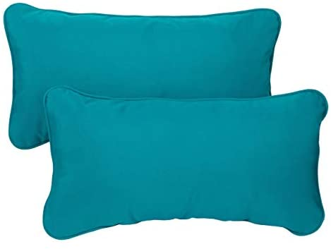 Teal Corded 12 X 24 Inch Indoor/Outdoor Lumbar Pillows Fabric (Set 2) Blue Solid Traditional Transitional Fade Resistant Uv Water