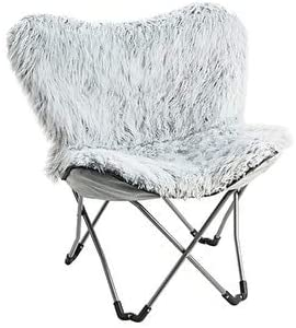 MISC Imitation Fur Chair Glacier Gray Grey Solid Glam Upholstered