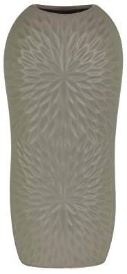 Ceramic Tall Engraved Leaf Design Half Circle Vase Small Gray Grey Modern Contemporary