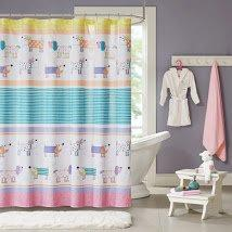 Cute Dog Themed Shower Curtain Adorable Puppies Dressed Up Doggy Pattern Yellow Blue Teal Pink White Orange Pups Doggies Polyester