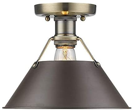 Brass Rubbed Bronze Shade Flush Mount Yellow Transitional Steel