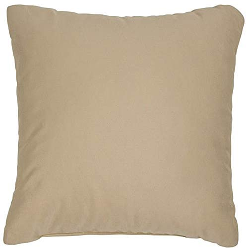 Antique Beige 18 inch Knife Edged Outdoor Pillows Fabric (Set 2) White Solid Traditional Transitional Polyester Fade Resistant Uv Water