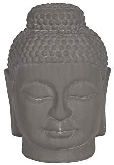 Ceramic Buddha Head Figurine Rounded Gray Grey