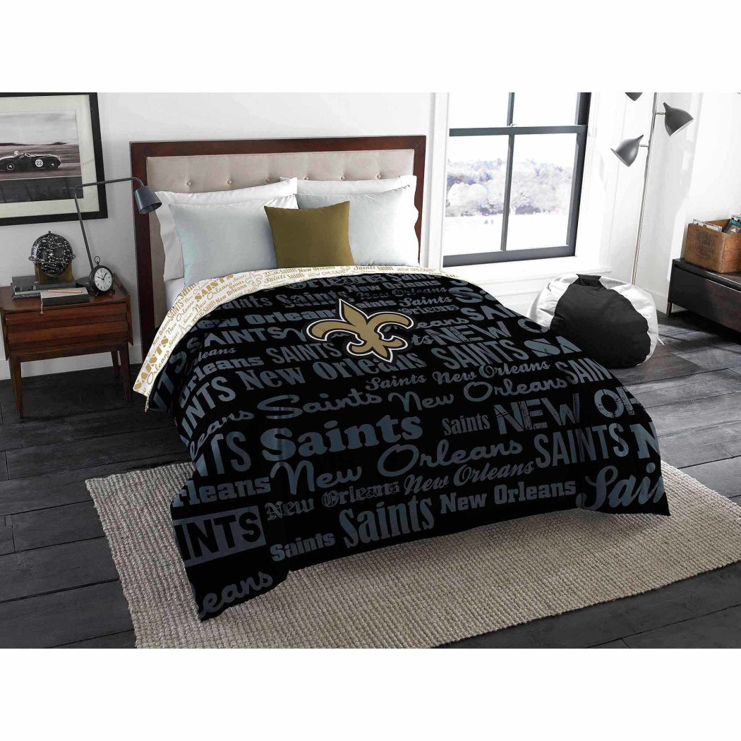 NFL New Orleans Saints Comforter Twin Sports Patterned Bedding Team Logo Fan Merchandise Team Spirit Football Themed National Football League Black