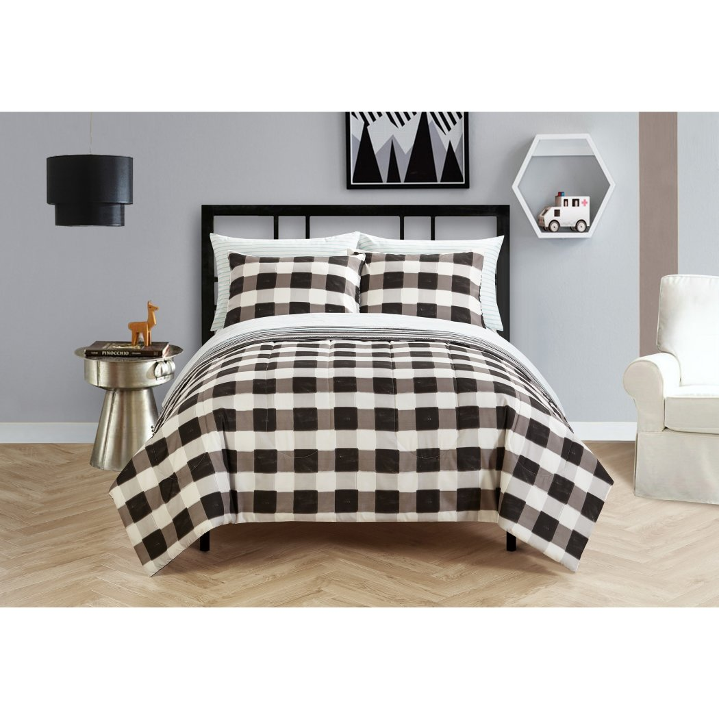 Checkered Comforter Set Checked Pattern Bedding Brushstrokes Bed Bag Squared Lumberjack Classic Stylish Plaid Themed