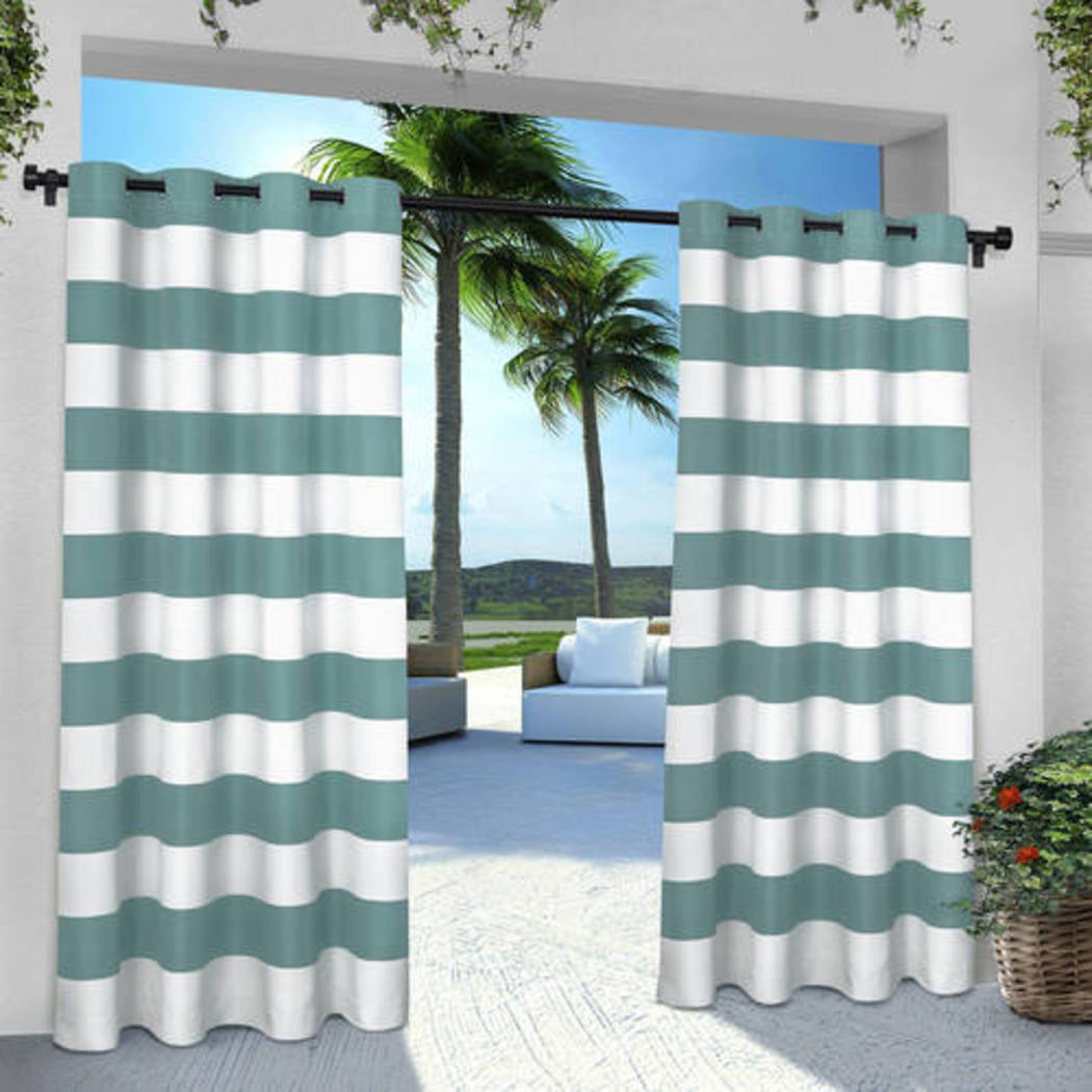 Outdoor Stripe Gazebo Curtain Striped Pattern Outside Window Treatment Panel Indoor Patio Porch Entrance Door Grommet Pergola