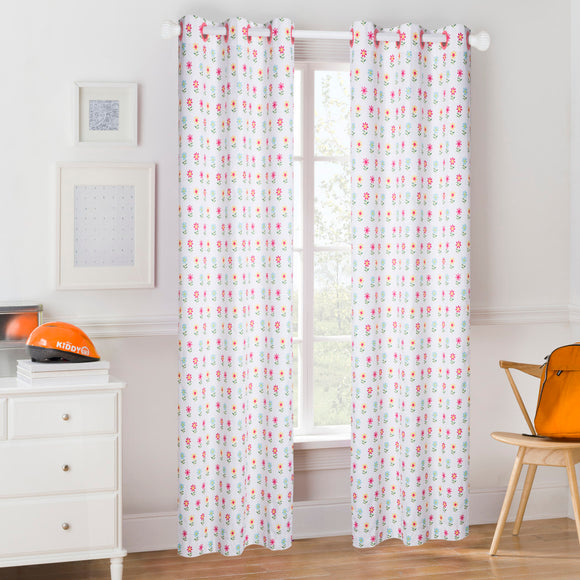 Floral Window Curtain Flower Drape Daisy Leaf Room ening Coordinating Flowers Printed Window Screen Girls Room