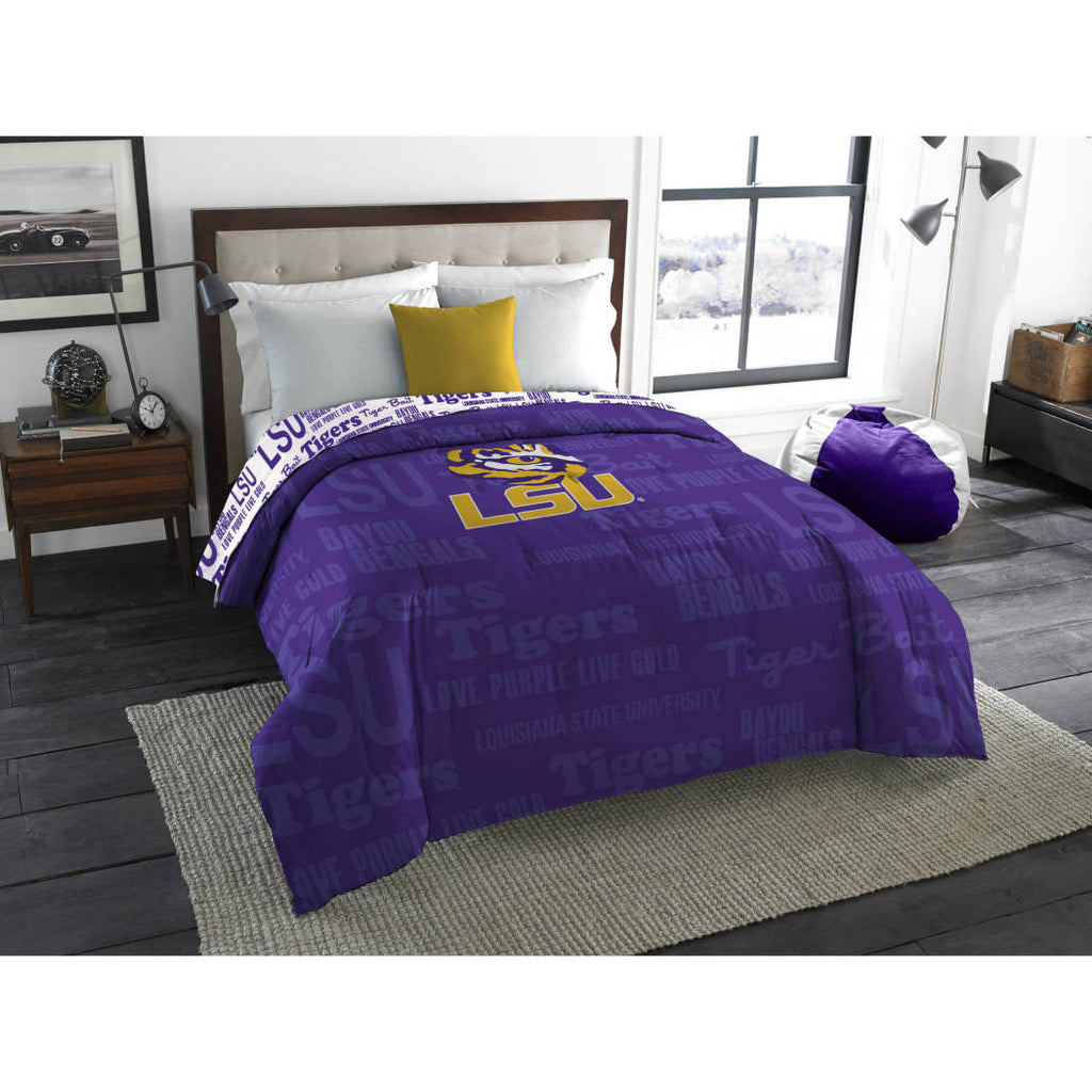 NCAA Louisiana State University LSU Tigers Comforter Full/Twin Sports Patterned Bedding Team Logo Fan Merchandise Team Spirit College Basket Ball
