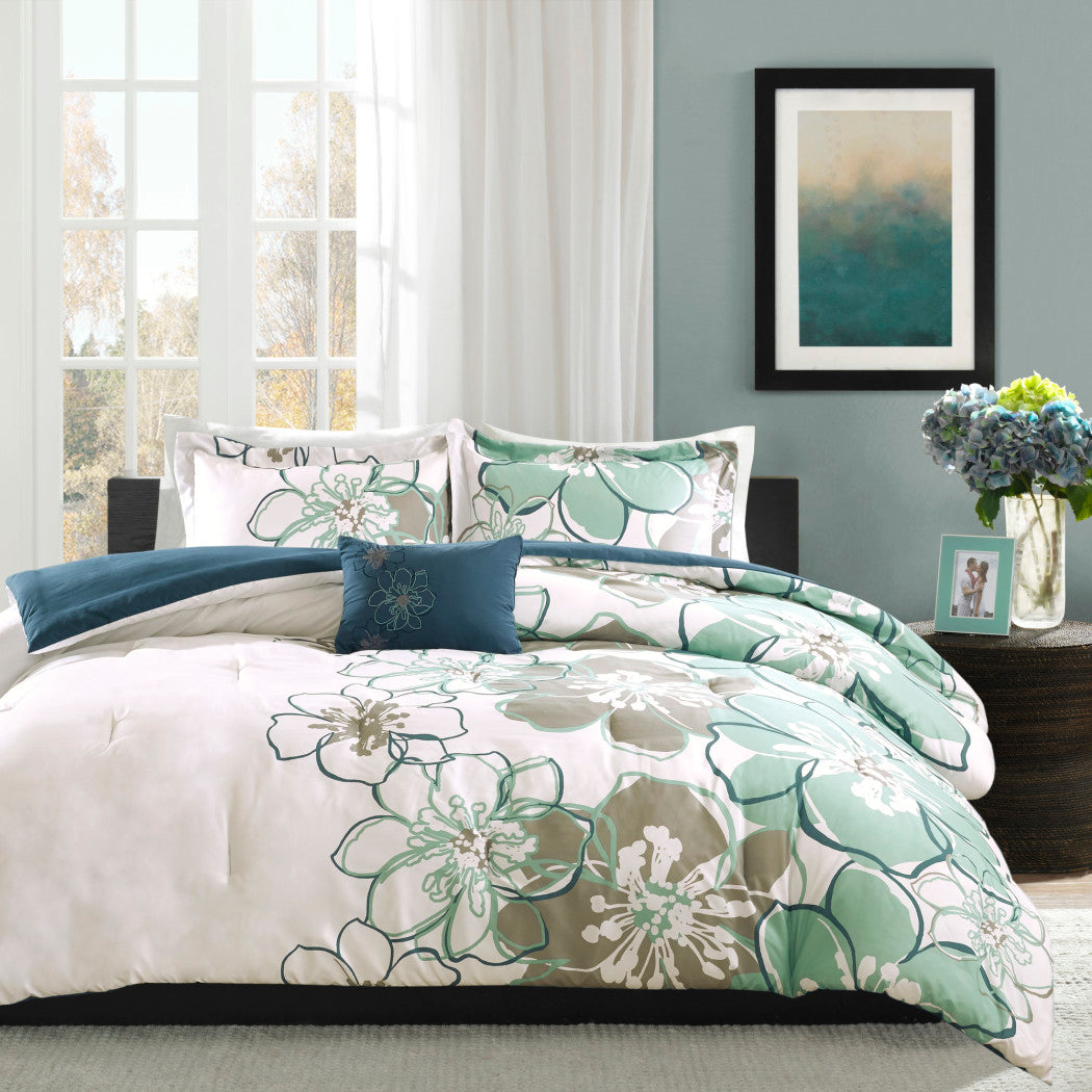 Apartment Kelly Floral Pattern Comforter Set Oversized Flower Motif Boho Chic Backdrop Kids Bedding
