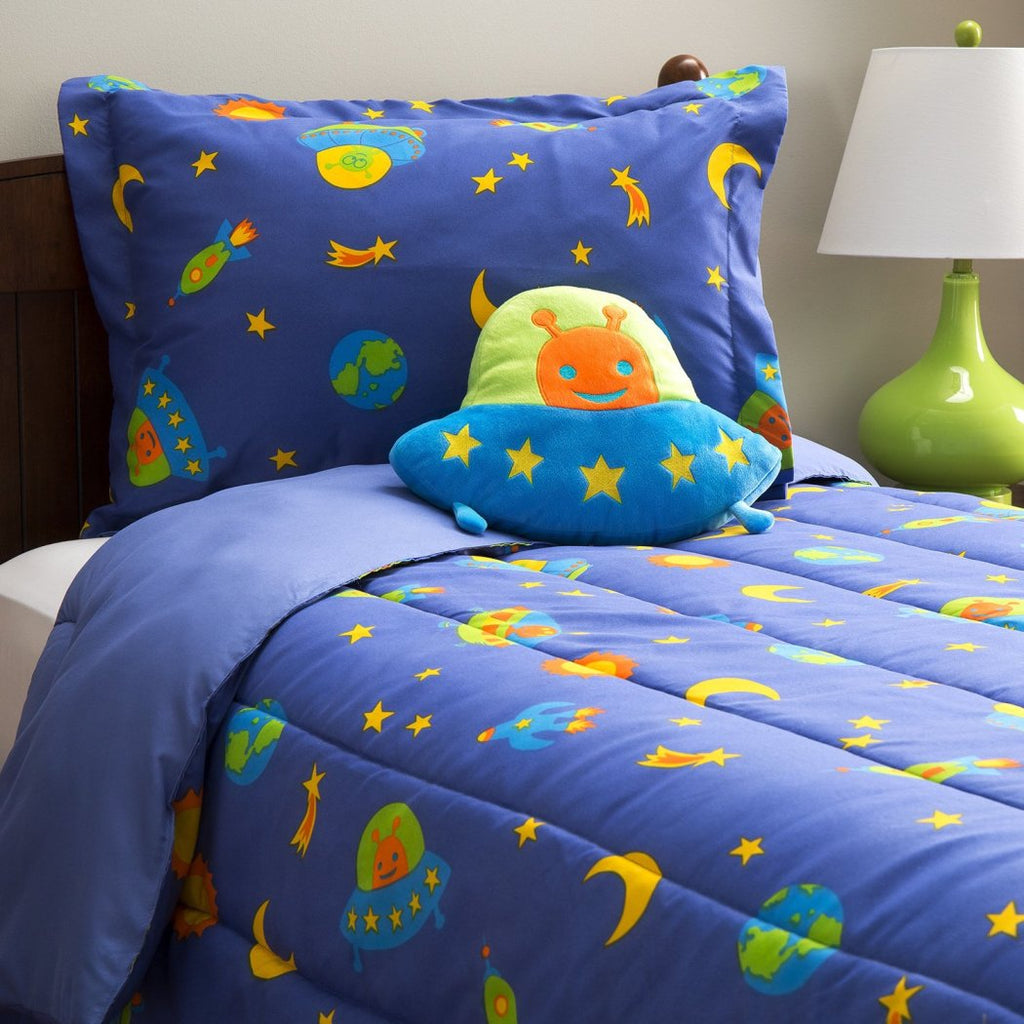 Kids Alien Space Ships Comforter Set Outer Space Flying Rockets Bedding Children Cute Faces Aliens UFO Sun Moon Earth Vibrant
