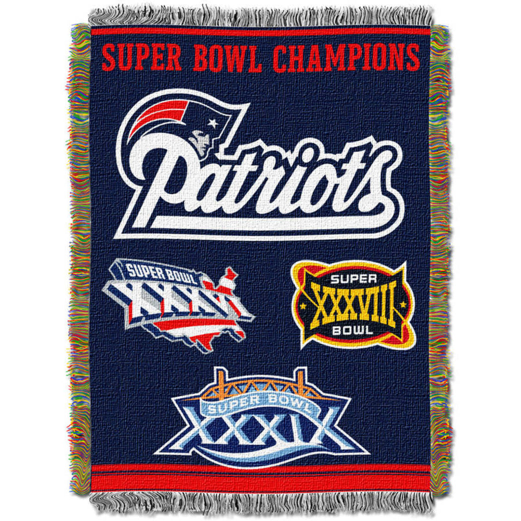 Nfl Patriots Throw Blanket 48 X 60 Inches Football Themed Bedding Sports Patterned Team Logo Fan Merchandise Athletic Team Spirit Fan Blue Red White