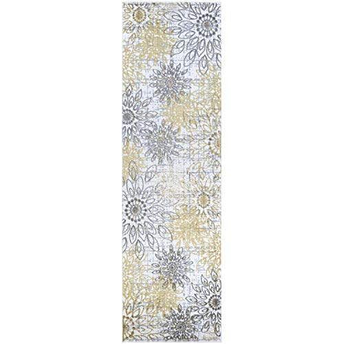 "MISC Gold/Silver Area Rug 2'3"" X 7'6"" Runner Gold Floral Botanical Polyester Polypropylene Contains Latex"