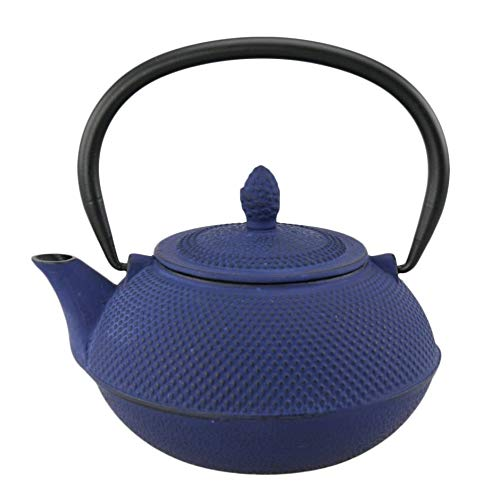 30 oz Blue Metal Teapot Cast Iron Kettle Hobnail Design Stove Top Tetsubin Steeping Tea Pot Brew Steep Serve 30oz