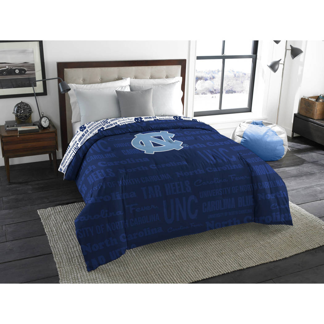 NCAA University North Carolina Tar Heels Comforter Full/Twin Sports Patterned Bedding Team Logo Fan Merchandise Team Spirit College Basket Ball Themed