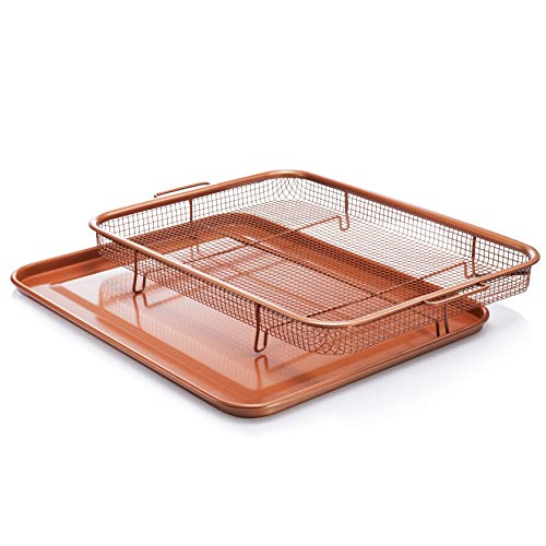 Bronze Crisper Tray Copper Air Fry Crisper Basket Baking Sheet Set Home Kitchen Oven Cooking Pan