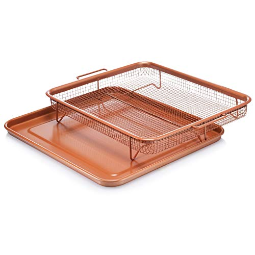 Bronze Crisper Tray Copper Air Fry Crisper Basket Baking Sheet Set Home Kitchen Oven Cooking Pan Rectangle XXL Brown Aluminum Copper