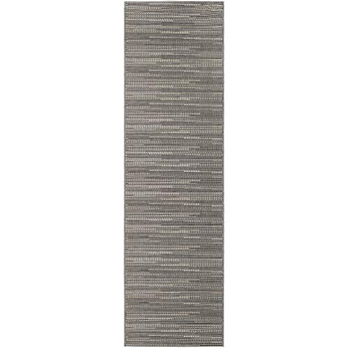 "Grey Indoor/Outdoor Runner Rug 2'3"" X 11'9"" Grey Ivory Stripe Casual Rectangle Polypropylene Contains Latex Pet Friendly Stain Resistant"