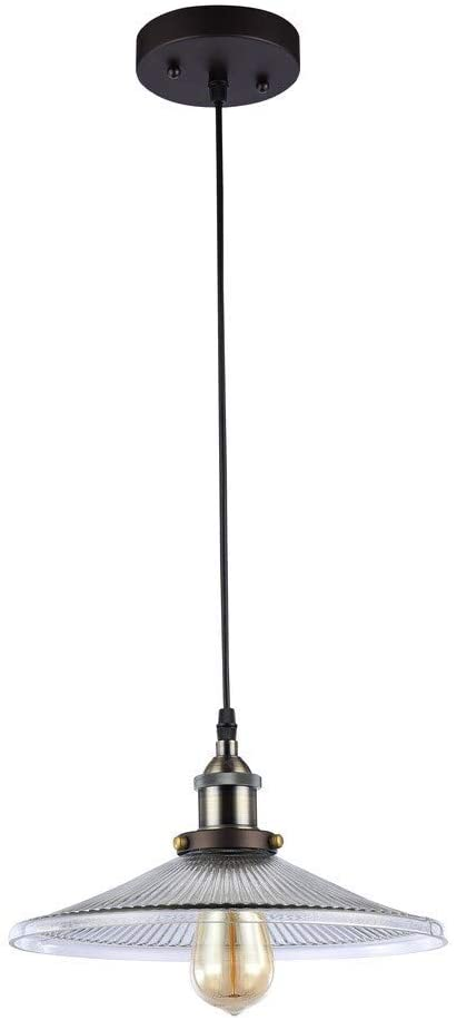 Transitional 1 Light Oil Rubbed Bronze Pendant Brown Industrial Glass Steel Bulbs Included