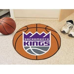 27 Inch NBA Kings Mat Basketball Shaped Round Rug Floor Carpet Boys Bedroom Living Room Playarea Circle Area Rug Team Logo Sports Fans Gift Non