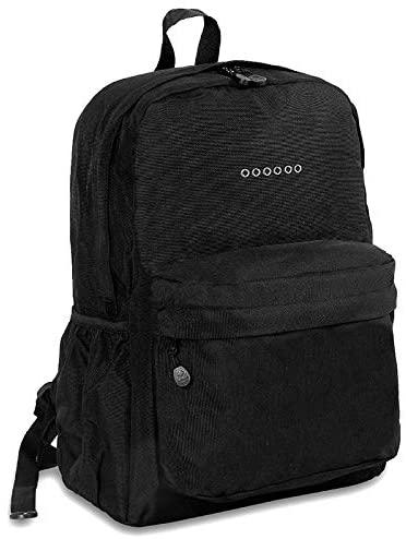 Black OZ Expandable 17 inch Backpack Solid Polyester Laptop Compartment Adjustable Strap Lined Water Resistant
