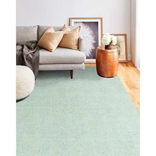 "Chamomile Area Rug 3'6"" X 5'6"" Blue Geometric Solid Cabin Lodge Industrial Transitional Rectangle Cotton Contains Latex"