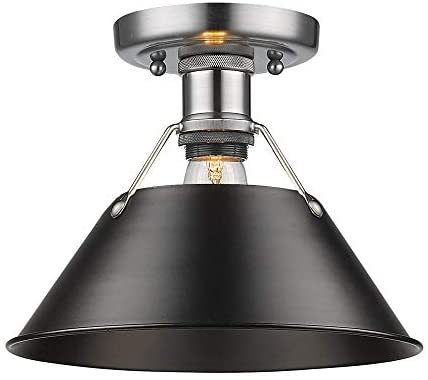 Pewter Flush Mount Light Fixture Black Shade Transitional Steel