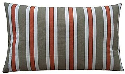 "Handmade Funstripe Red Decorative Pillow 12"" X 20"" Green Cream Stripe Bohemian Eclectic Cotton One"