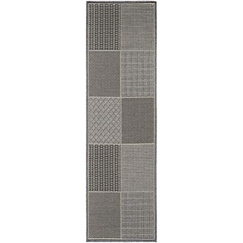 Squares Blue/Gray Indoor/Outdoor Runner Rug 2'3