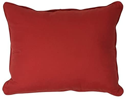 Canvas Red Corded Outdoor Pillows (Set 2) Solid Traditional Transitional Polyester Fade Resistant Uv Water