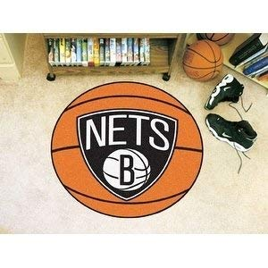 27 Inch NBA Nets Mat Basketball Shaped Round Rug Floor Carpet Boys Bedroom Living Room Playarea Circle Area Rug Team Logo Sports Fans Gift Non