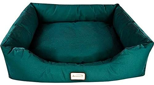 Dog/Cat Pet Bed (34 X 28) Green Solid Color Classic Traditional Rectangle Canvas