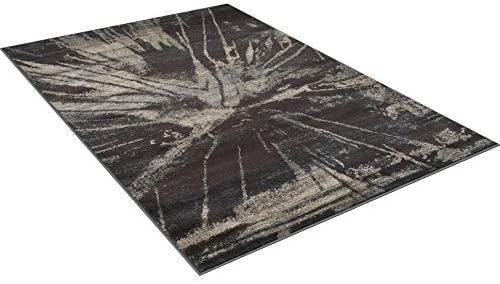 "Rugs Distressed Espresso Black Rectangular Accent Area Rug Beige Abstract Design 4' 11"" X 7' 0"" Brown Modern Contemporary Rectangle Polypropylene"