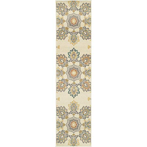 "Floral Ivory/Grey Indoor Outdoor Area Rug 1'10"" X 7'6"" Runner Ivory Botanical Transitional Rectangle Polypropylene Synthetic Contains Latex Stain"