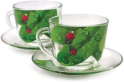 MISC Green Leaf Durable Glass Tea Cup Saucer Set 2 Floral Casual Piece Microwave Safe