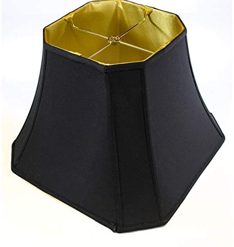 9x16x12 Square Cut Corner Shade Black Fabric/Gold Liner Modern Contemporary