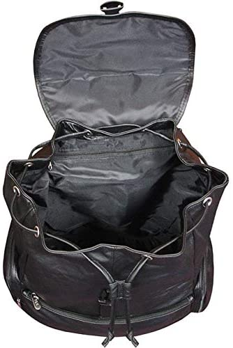 Leather Jumbo Backpack Black Solid Flapover Compartment
