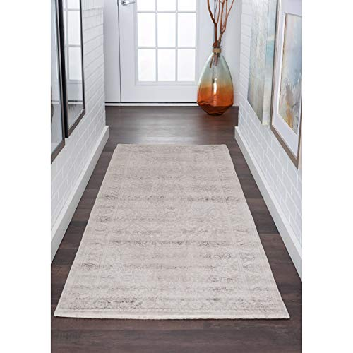 Transitional Oriental Runner Rug 2'7 X 9'10 Beige Ivory Medallion Rectangle Cotton Polypropylene Latex Free Pet Friendly Stain Resistant