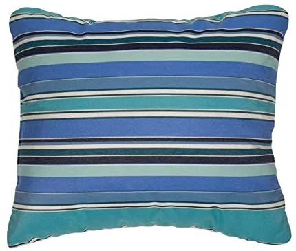 Knife Edge Outdoor Pillows Fabric (Set 2) Blue Striped Modern Contemporary Traditional Polyester Fade Resistant Uv Water