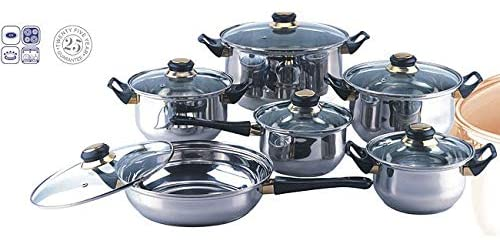 Stainless Steel Cookware Set Silver Metal 12 Piece