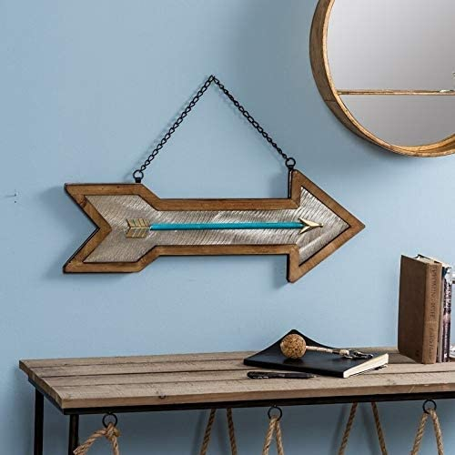 Arrow Decorative Wall Art Blue/Brown/Silver Bohemian Eclectic Rustic