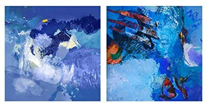 Blue Abstract Study' 2 Piece Gallery Wrapped Canvas Wall Art Set Modern Contemporary Square Wood Made USA