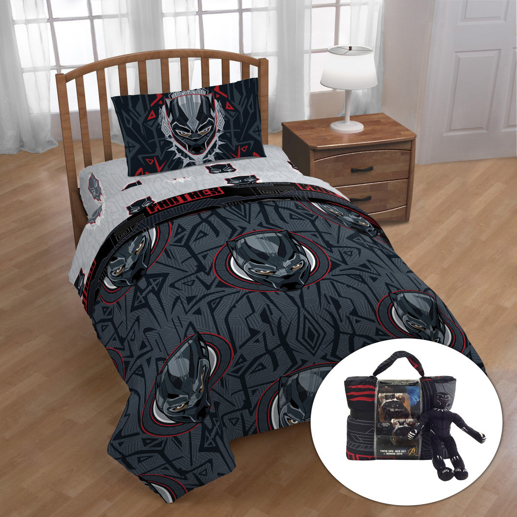 Boys Grey Red Black Panther Themed Comforter Sheets Twin Set Gray Disney Marvel Superhero Bedding Comic Book Superheroes Characters Bold Design Soft - Diamond Home USA