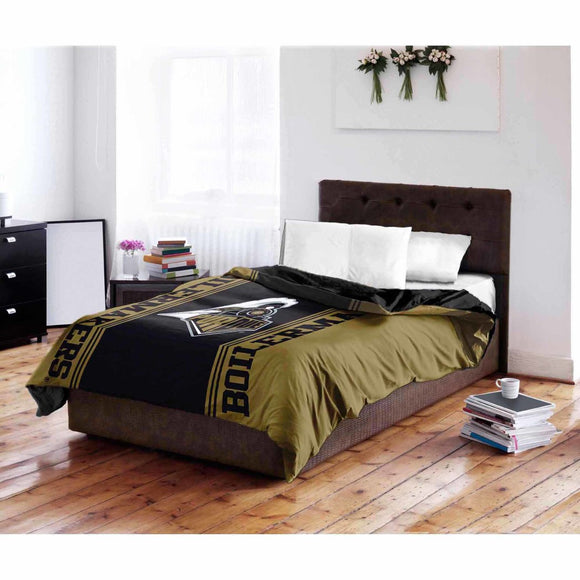 NCAA Purdue University Boilermakers Full/Twin Comforter Black Sports Patterned Bedding Team Logo Purdue Merchandise Team Spirit College Football
