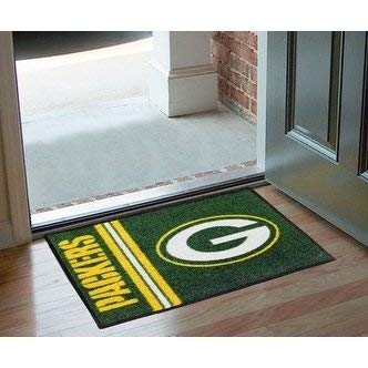 "19""X30"" Green NFL Green Bay Packers Area Rug Football Themed Room Entry Mat Sports Pattern Rectangle Bathroom Livingroom Office Carpet Team Logo Fan"