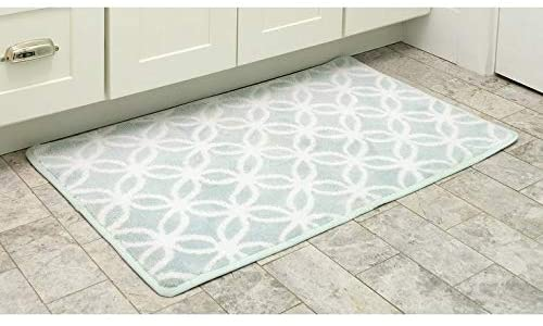 Home Ultra Plush Knitted Cut Pile Polyester Mat Bath Rug 20 X 39 Aqua Blue Geometric