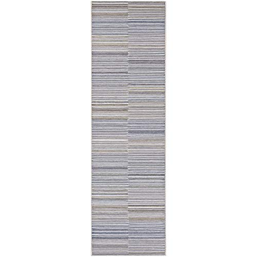 "Ivory Charcoal Indoor/Outdoor Runner Rug 2'3"" X 7'10"" Grey Ivory Stripe Casual Transitional Rectangle Polypropylene Synthetic Contains Latex"