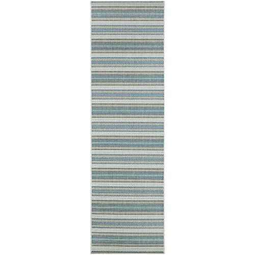 "Sand Stripe Ivory blueish Green Indoor/Outdoor Runner Rug 2'3"" X 11'9"" Blue Ivory Casual Rectangle Polypropylene Contains Latex Pet Friendly Stain"