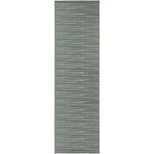 "Blue Indoor/Outdoor Runner Rug 2'3"" X 11'9"" Blue Ivory Stripe Casual Rectangle Polypropylene Contains Latex Pet Friendly Stain Resistant"
