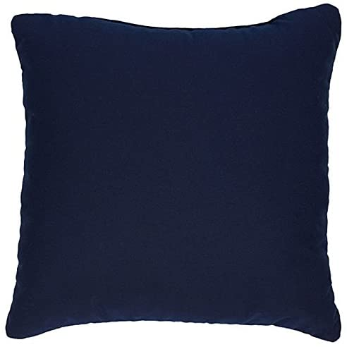 Navy 18 inch Knife Edged Indoor/Outdoor Pillows Fabric (Set 2) Blue Solid Modern Contemporary Transitional Polyester Fade Resistant Uv Water